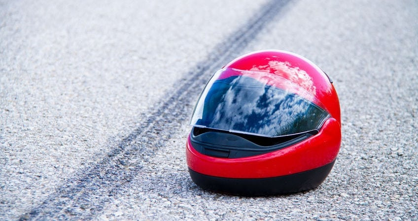 motorcycle helmet on street